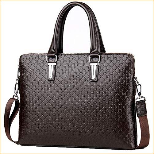 PanBazstny Leather Mens Business Shoulder Bags Laptop Briefcases Crossbody Messenger Bag Brown