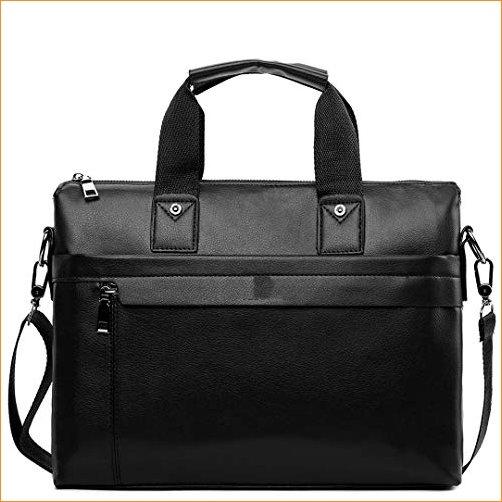 PanBazstny Casual Business Man Simple Design Solid Leather Briefcase Laptop Shoulder Bags Large Black