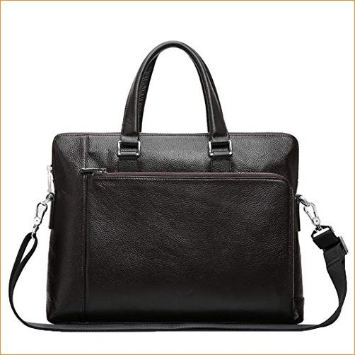 PanBazstny Genuine Leather Men Leather Business Laptop Briefcase Travel Shoulder Bags Coffee