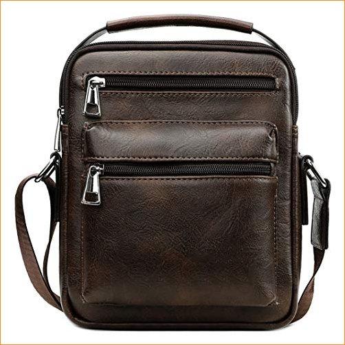 PanBazstny Vintage Leather Messenger Bag Business Bag Shoulder Bags Casual Handbag Brown